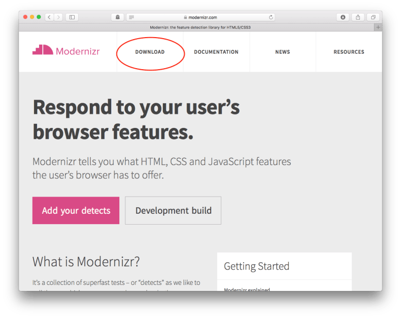 Modernizr Homepage indicating Download Button