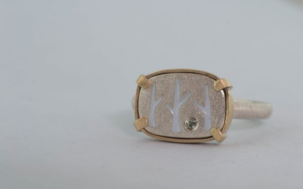 Front right side of birch ring
