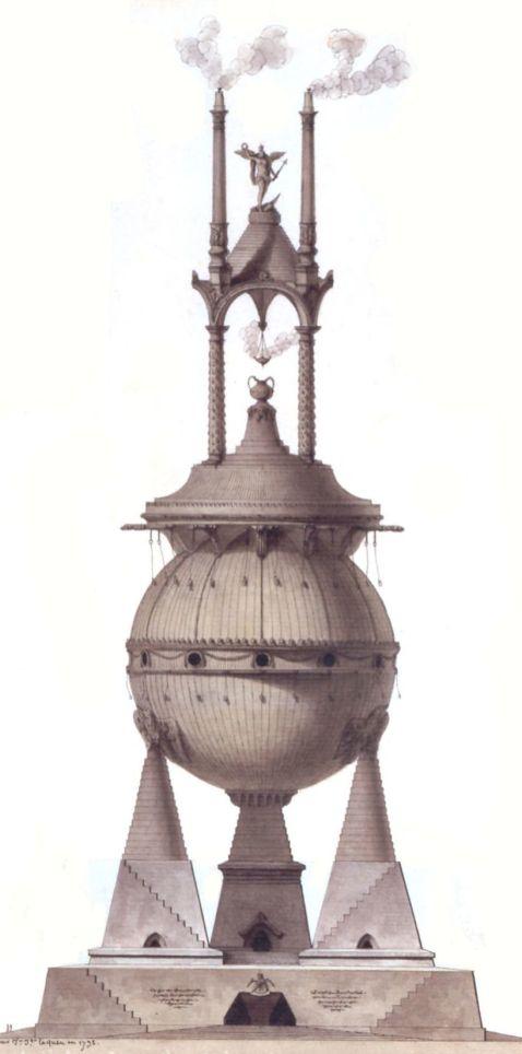 Tumba de Porsena, de Jean-Jacques Lequeu, ejemplo de la arquitectura revolucionaria de Francia vinculada al ambiente de la Revolución.