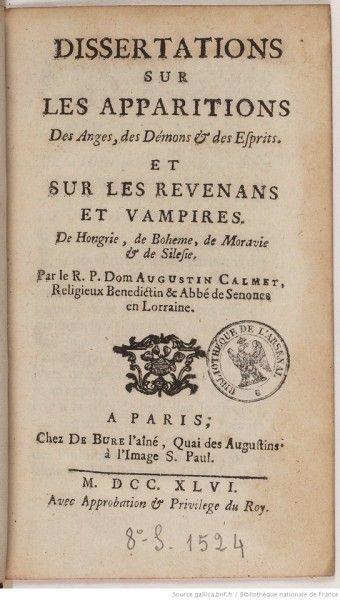 La Dissertation de Calmet no aseguraba la existencia de vampios