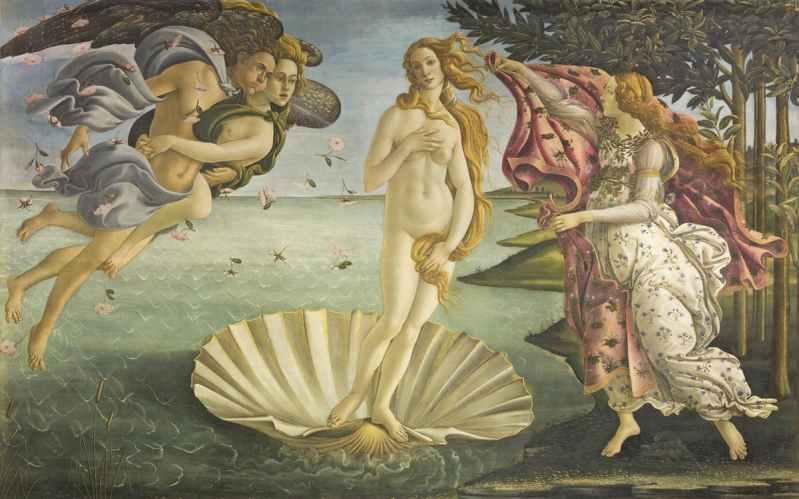 El nacimiento de Venus (Botticelli, c.1485) (Galleria degli Uffizi, Florencia)