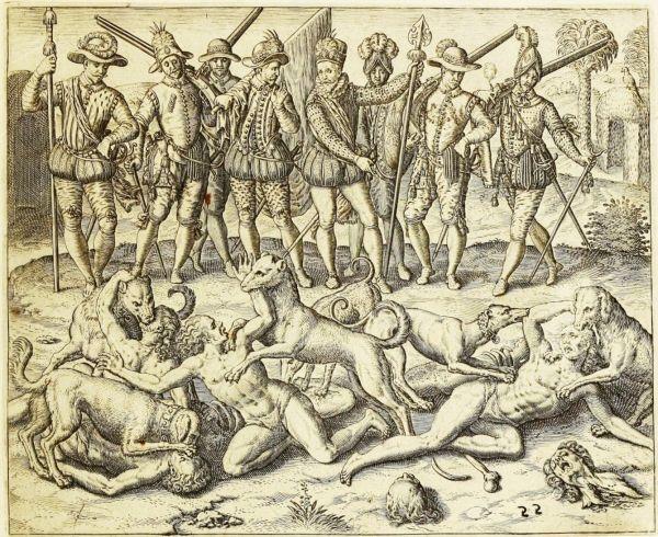 El grabado representa el momento en que Balboa condena a muerte a un grupo de indígenas haciendo que sus perros los devoren vivos.
