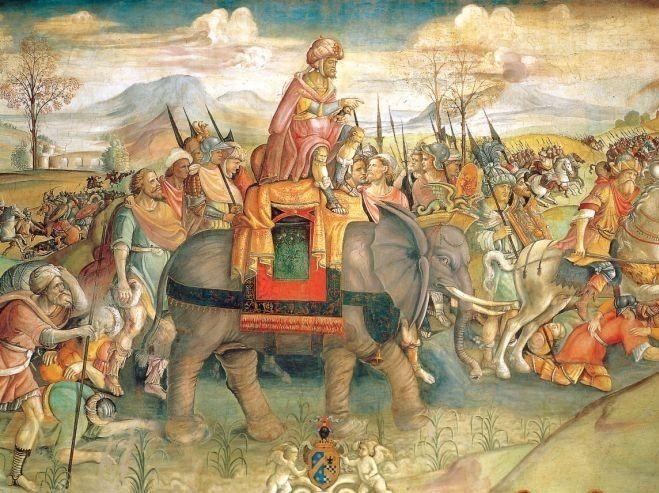 Aníbal cruzando los Alpes, Jacopo Ripanda, 1505.