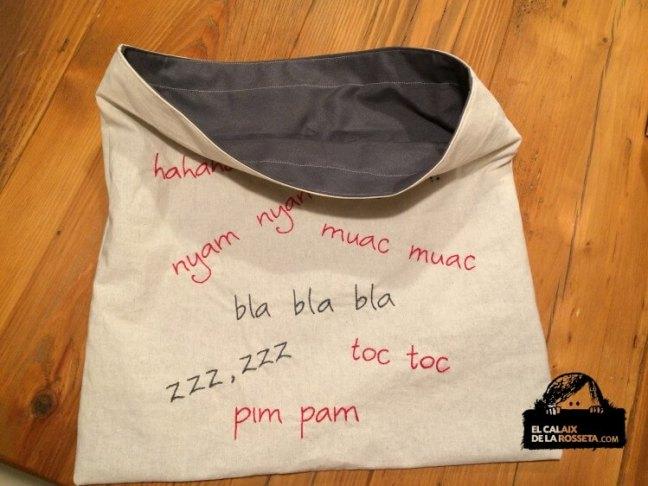 Tote Bag bordada con onomatopeyas para Noe