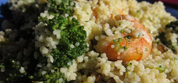 cuscús de brócoli y gambas
