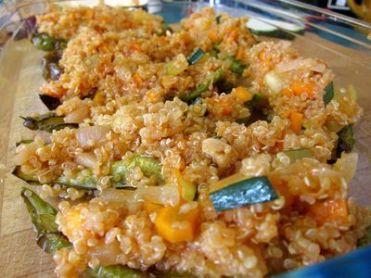 Pimientos verdes rellenos de quinoa con verduritas 13