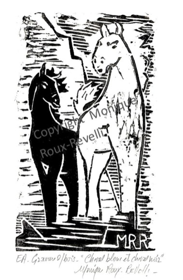 cheval noir et cheval blancrte et aquatinte