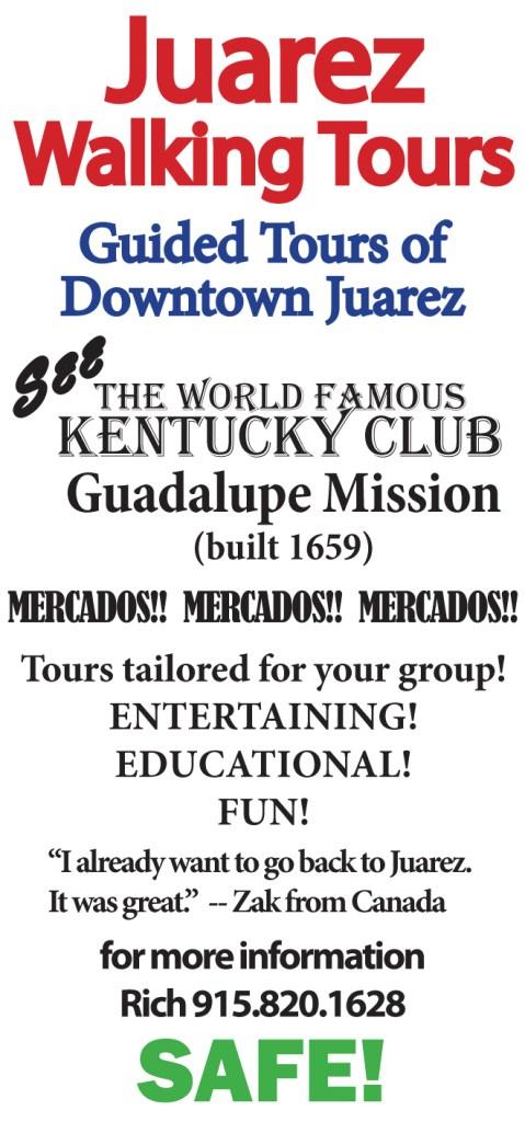 An advertisement for Downtown Juarez Walking Tours