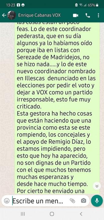Mensaje enviado a Enrique Cabanas a través de Whatsapp cedido a El Cierre Digital