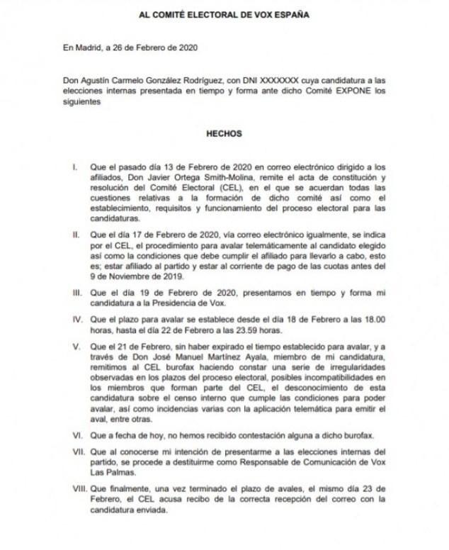 Denuncia electoral contra la elección de Santiago Abascal