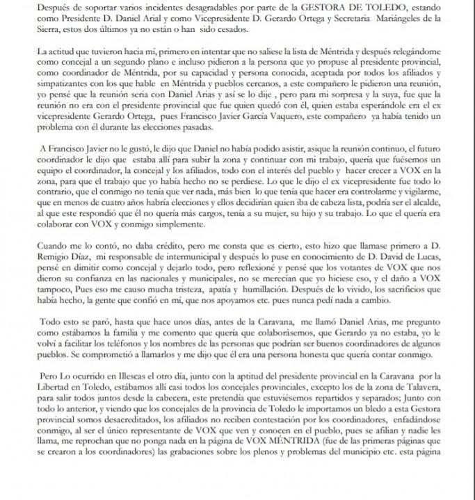 Documento enviado por un afiliado anónimo de Vox Toledo a la cúpula del partido