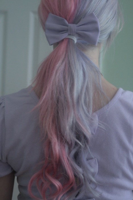 Pink and purple pastel hair with a cute purple bow,