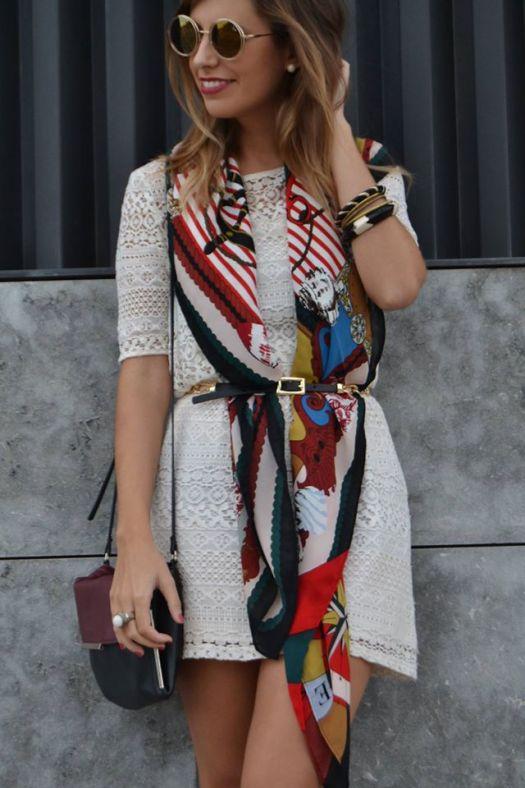 vestido simple ponle un toq diferente con panuelo