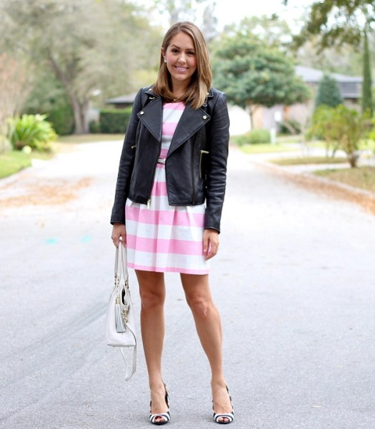 pinkstripedressleatherjacketblackstripedshoes