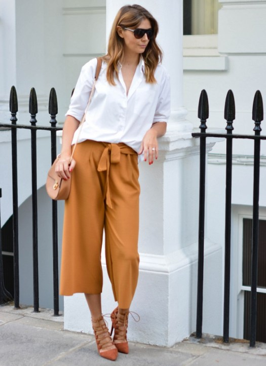 ejstyle-wears-tan-culottes-white-shirt-forever-21-chloe-drew-style-bag-flat-top-sunglasses-missguided-rust-lace-up-heels