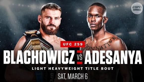 UFC 259: Blachowicz vs.  Adesanya se enfrentará por el título de peso semipesado en Las Vegas Apex.  (Foto: UFC)
