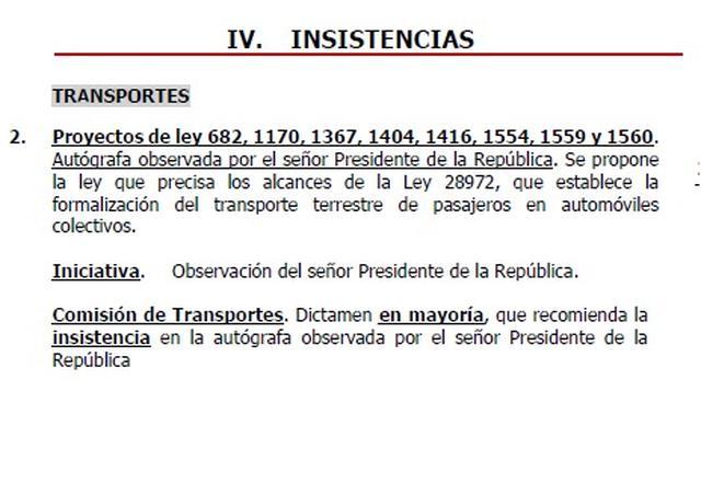 En la agenda de insistencias del Pleno del Congreso de la República destaca el proyecto para formalizar el taxi colectivo.