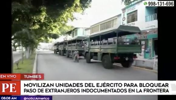 El matinal América Noticias detalló que las Fuerzas Armadas detectaron varias rutas ilegales en la frontera con Ecuador, pese al cierre de fronteras. Más de mil militares participarían de esta acción en puntos claves. Foto: captura de pantalla