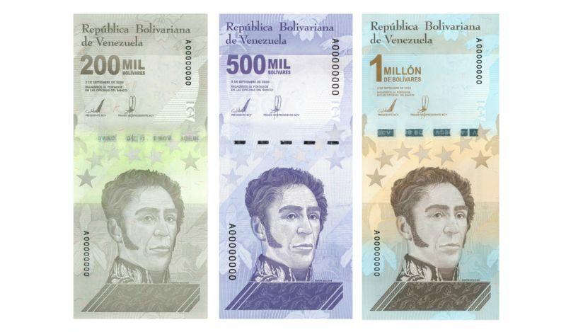 Los tres nuevos billetes presentados por el Banco Central de Venezuela apenas suman US$1 juntos. (Banco Central de Venezuela).
