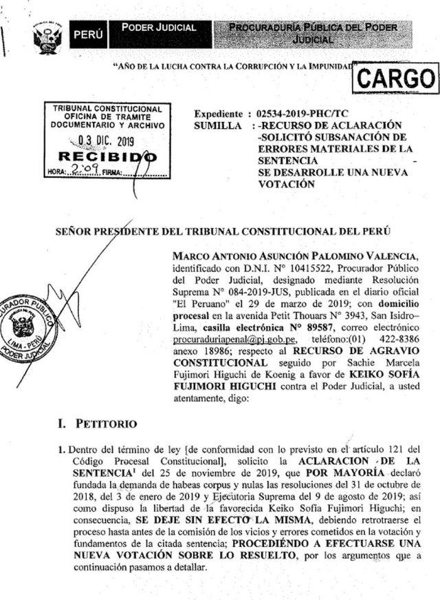 El procurador del Poder Judicial solicitó que el TC aclare fallo de Keiko Fujimori