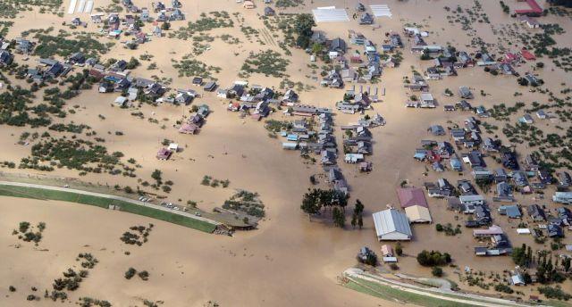 Imagen aérea de las inundaciones en Nagano. (EFE).