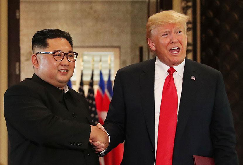 El presidente de EE.UU., Donald Trump, y el líder de Corea del Norte, Kim Jong-un.