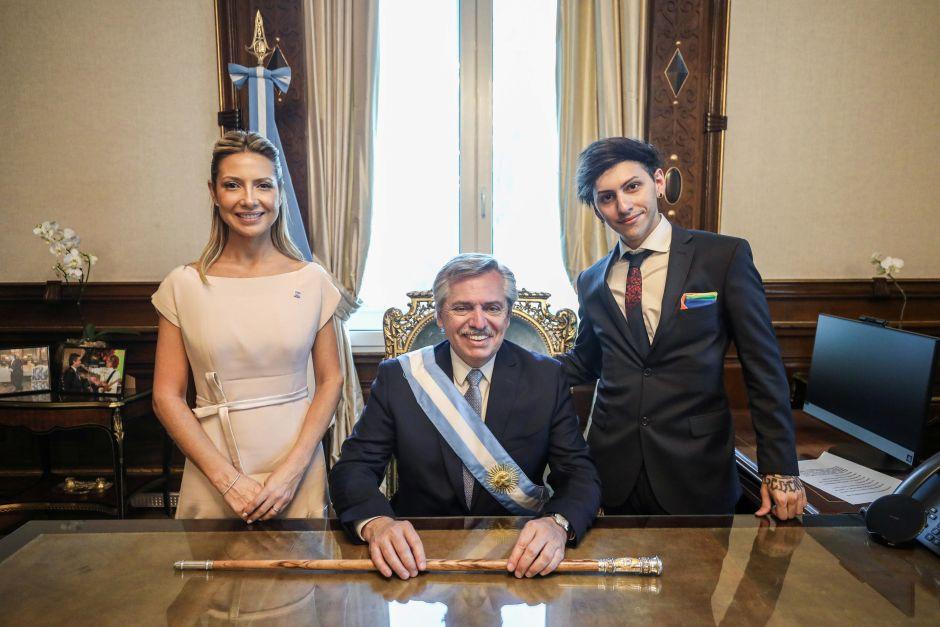 Fabiola Yáñez, Alberto Fernández y Estanislao Fernández