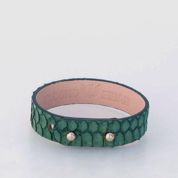 """Pulsera """"Tina"""" – Piel Serpiente Verde"""
