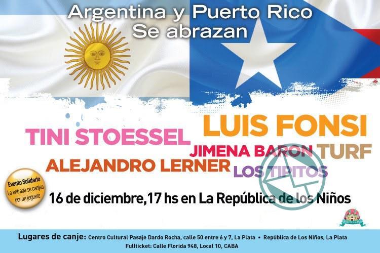 """Más artistas se suman al show solidario """"Argentina y Puerto Rico se abrazan"""" en la República de los Niños"""