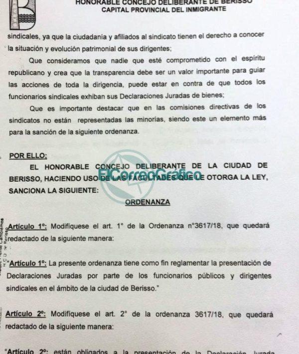 Troyecto de Ordenanza DDJJ Sindicalistas Municipales de Berisso Cambiemos 02