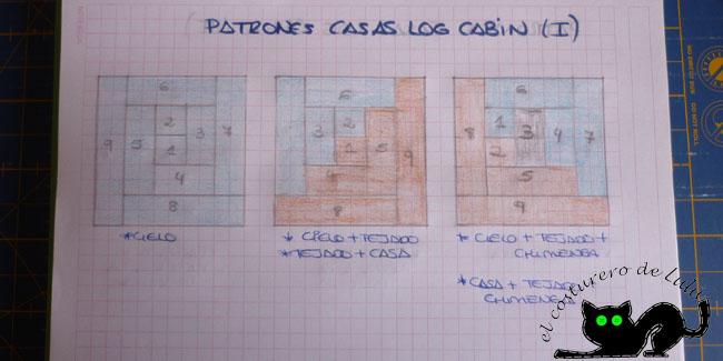 Patrones casitas log cabin I