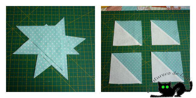 Una vez cortados los triángulos los cosemos y los planchamos