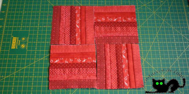 Colocamos los cuadrados con las rayas en diferentes direcciones