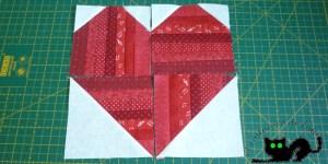 Los cuadrados una vez cosida la tela de fondo