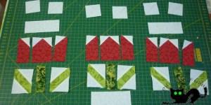 Resultado después de coser los cuadrados blancos