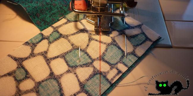 Nos vamos a la máquina y cosemos la diagonal