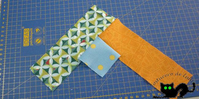 Comenzamos a coser las tiras de forma alterna