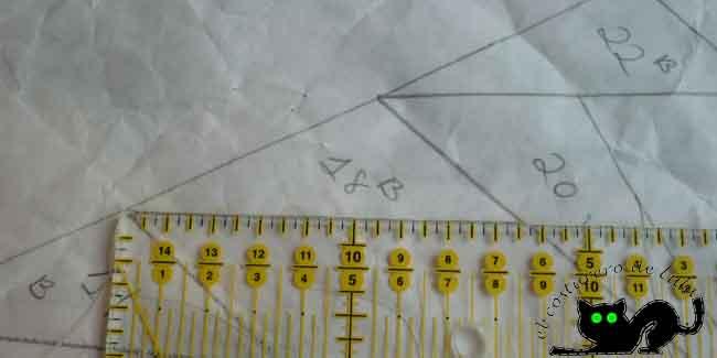 Medimos el lado más largo del triángulo