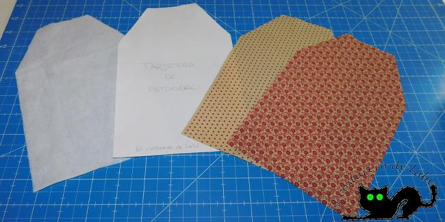 Cortamos los patrones del tajetero de patchwork