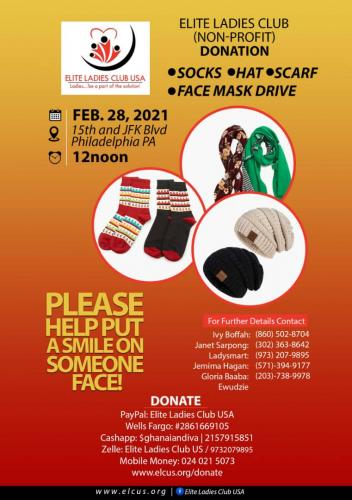 Donation of Socks, Scarf, Hats, Face Masks
