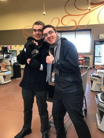 Elder Brown and Richardson at the supermarket