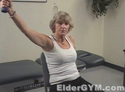 Diagona shoulder raise outward end