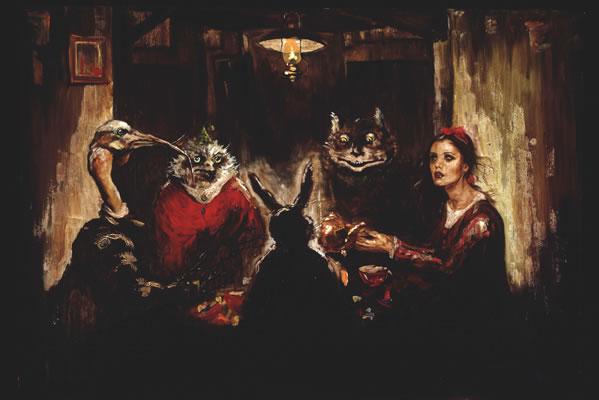 """""""El cuento que antecede al amanecer"""". Óleo sobre tela. Obra de Larracilla. Foto: cortesía del artista."""