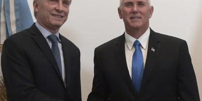 El vicepresidente de Estados Unidos Mike Pence junto al mandatario de Argentina, Mauricio Macri.  ap