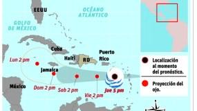 Trayectoria de Isaac por las aguas del mar Caribe al sur de República Dominicana.