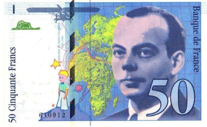 Billete de 50 francos, emitido en 1.992 en homenaje a Saint-Exupéry
