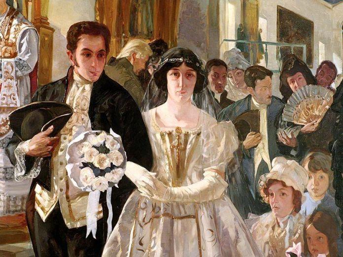 Matrimonio de Simón Bolívar, óleo de Tito Salas