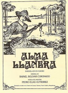 Portada de la primera edición del libreto de Alma llanera,