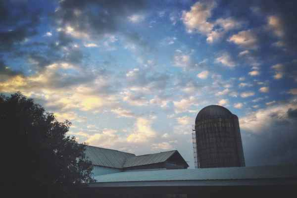 Sunset Over the Barn and Silo