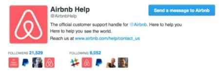 L'équipe d'assistance Airbnb est disponible également sur Twitter.